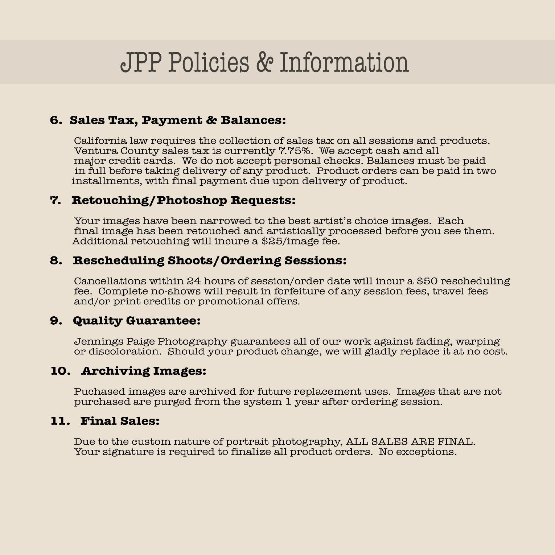 FAQ & Policies » Jennings Paige Photography